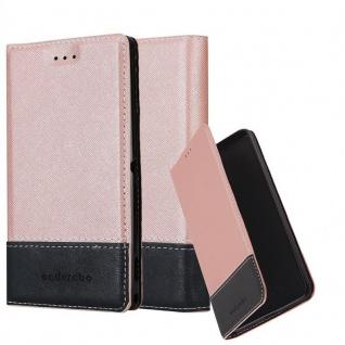 Cadorabo Hülle für Sony Xperia X Compact in ROSÉ GOLD SCHWARZ - Handyhülle mit Magnetverschluss, Standfunktion und Kartenfach - Case Cover Schutzhülle Etui Tasche Book Klapp Style