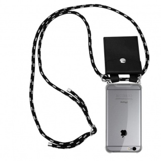 Cadorabo Handy Kette für Apple iPhone 6 PLUS / iPhone 6S PLUS in SCHWARZ SILBER - Silikon Necklace Umhänge Hülle mit Silber Ringen, Kordel Band Schnur und abnehmbarem Etui - Schutzhülle