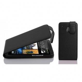 Cadorabo Hülle für HTC ONE M4 MINI in OXID SCHWARZ - Handyhülle im Flip Design aus strukturiertem Kunstleder - Case Cover Schutzhülle Etui Tasche Book Klapp Style