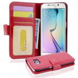 Cadorabo Hülle für Samsung Galaxy S6 EDGE in INFERNO ROT ? Handyhülle mit Magnetverschluss und 3 Kartenfächern ? Case Cover Schutzhülle Etui Tasche Book Klapp Style