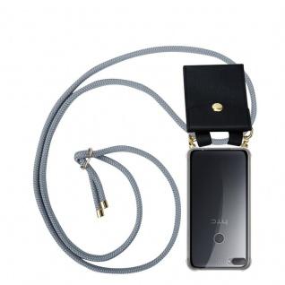 Cadorabo Handy Kette für HTC Desire 12 PLUS in SILBER GRAU - Silikon Necklace Umhänge Hülle mit Gold Ringen, Kordel Band Schnur und abnehmbarem Etui ? Schutzhülle