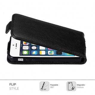 Cadorabo Hülle für Apple iPhone 5 / iPhone 5S / iPhone SE in NACHT SCHWARZ - Handyhülle im Flip Design mit unsichtbarem Magnetverschluss - Case Cover Schutzhülle Etui Tasche Book Klapp Style - Vorschau 2