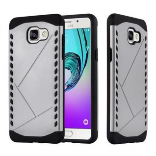Cadorabo Hülle für Samsung Galaxy A5 2016 (6) - Hülle in GUARDIAN SILBER - Hard Case TPU Silikon Schutzhülle für Hybrid Cover im Outdoor Heavy Duty Design