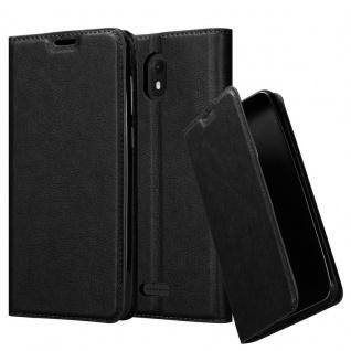 Cadorabo Hülle für WIKO VIEW GO in NACHT SCHWARZ Handyhülle mit Magnetverschluss, Standfunktion und Kartenfach Case Cover Schutzhülle Etui Tasche Book Klapp Style