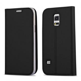 Cadorabo Hülle für Samsung Galaxy S5 MINI / S5 MINI DUOS in CLASSY SCHWARZ - Handyhülle mit Magnetverschluss, Standfunktion und Kartenfach - Case Cover Schutzhülle Etui Tasche Book Klapp Style