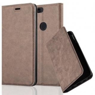 Cadorabo Hülle für OnePlus 5T in KAFFEE BRAUN Handyhülle mit Magnetverschluss, Standfunktion und Kartenfach Case Cover Schutzhülle Etui Tasche Book Klapp Style