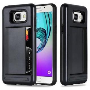 Cadorabo Hülle für Samsung Galaxy A3 2016 - Hülle in ARMOR SCHWARZ ? Handyhülle mit Kartenfach - Hard Case TPU Silikon Schutzhülle für Hybrid Cover im Outdoor Heavy Duty Design