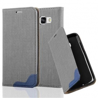 Cadorabo Hülle für Samsung Galaxy A3 2016 - Hülle in GRAU BLAU ? Handyhülle in Bast-Optik mit Kartenfach und Standfunktion - Case Cover Schutzhülle Etui Tasche Book Klapp Style