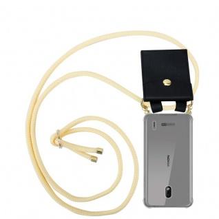 Cadorabo Handy Kette für Nokia 2.2 in CREME BEIGE - Silikon Necklace Umhänge Hülle mit Gold Ringen, Kordel Band Schnur und abnehmbarem Etui ? Schutzhülle
