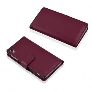 Cadorabo Hülle für Sony Xperia Z2 in BORDEAUX LILA - Handyhülle aus strukturiertem Kunstleder mit Standfunktion und Kartenfach - Case Cover Schutzhülle Etui Tasche Book Klapp Style - Vorschau 3