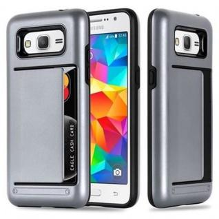 Cadorabo Hülle für Samsung Galaxy GRAND PRIME - Hülle in ARMOR SILBER ? Handyhülle mit Kartenfach - Hard Case TPU Silikon Schutzhülle für Hybrid Cover im Outdoor Heavy Duty Design