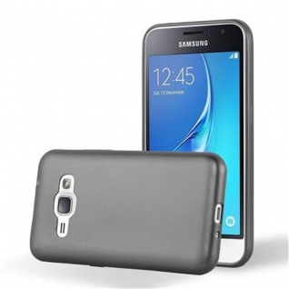 Cadorabo Hülle für Samsung Galaxy J1 2016 in METALLIC GRAU - Handyhülle aus flexiblem TPU Silikon - Silikonhülle Schutzhülle Ultra Slim Soft Back Cover Case Bumper