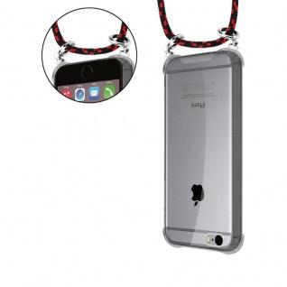 Cadorabo Handy Kette für Apple iPhone 6 PLUS / iPhone 6S PLUS in SCHWARZ ROT - Silikon Necklace Umhänge Hülle mit Silber Ringen, Kordel Band Schnur und abnehmbarem Etui - Schutzhülle - Vorschau 5