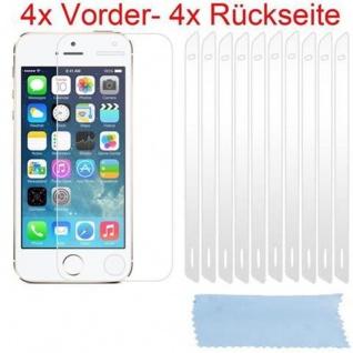 Cadorabo Displayschutzfolien für Apple iPhone 5 / 5S - Schutzfolien in HIGH CLEAR - 4x Front- und 4x Rückseiten Schutzfolie