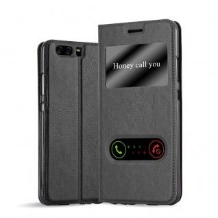 Cadorabo Hülle für Huawei P10 PLUS in KOMETEN SCHWARZ - Handyhülle mit Magnetverschluss, Standfunktion und 2 Sichtfenstern - Case Cover Schutzhülle Etui Tasche Book Klapp Style