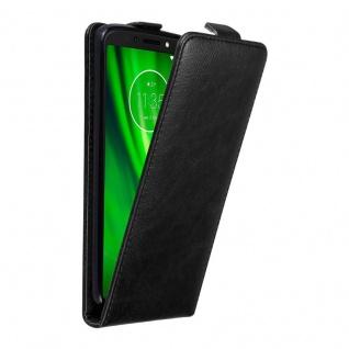 Cadorabo Hülle für Motorola MOTO G6 PLAY in NACHT SCHWARZ Handyhülle im Flip Design mit unsichtbarem Magnetverschluss Case Cover Schutzhülle Etui Tasche Book Klapp Style