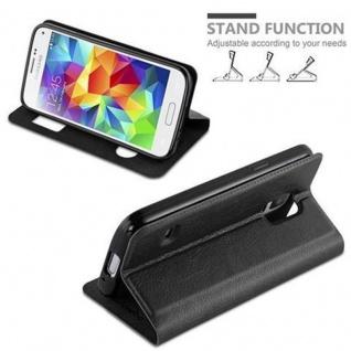 Cadorabo Hülle für Samsung Galaxy S5 / S5 NEO in KOMETEN SCHWARZ - Handyhülle mit Magnetverschluss, Standfunktion und 2 Sichtfenstern - Case Cover Schutzhülle Etui Tasche Book Klapp Style - Vorschau 4