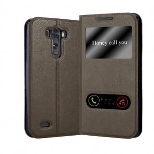 Cadorabo Hülle für LG G3 in STEIN BRAUN Handyhülle mit Magnetverschluss, Standfunktion und 2 Sichtfenstern Case Cover Schutzhülle Etui Tasche Book Klapp Style