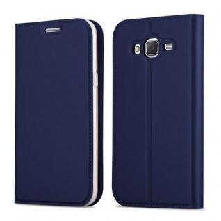 Cadorabo Hülle für Samsung Galaxy J5 2015 in CLASSY DUNKEL BLAU - Handyhülle mit Magnetverschluss, Standfunktion und Kartenfach - Case Cover Schutzhülle Etui Tasche Book Klapp Style