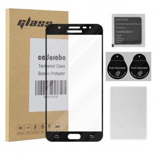 Cadorabo Vollbild Panzer Folie für Samsung Galaxy J7 PRIME / ON7 2016 - Schutzfolie in TRANSPARENT mit SCHWARZ - Gehärtetes (Tempered) Display-Schutzglas in 9H Härte mit 3D Touch Kompatibilität