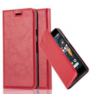 Cadorabo Hülle für Google Pixel 2 in APFEL ROT - Handyhülle mit Magnetverschluss, Standfunktion und Kartenfach - Case Cover Schutzhülle Etui Tasche Book Klapp Style