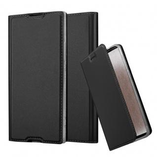Cadorabo Hülle für Sony Xperia XA1 in CLASSY SCHWARZ - Handyhülle mit Magnetverschluss, Standfunktion und Kartenfach - Case Cover Schutzhülle Etui Tasche Book Klapp Style