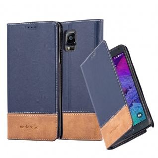 Cadorabo Hülle für Samsung Galaxy NOTE 4 - Hülle in BLAU BRAUN ? Handyhülle mit Standfunktion und Kartenfach aus einer Kunstlederkombi - Case Cover Schutzhülle Etui Tasche Book