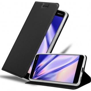 Cadorabo Hülle für Nokia 6.1 2018 in CLASSY SCHWARZ - Handyhülle mit Magnetverschluss, Standfunktion und Kartenfach - Case Cover Schutzhülle Etui Tasche Book Klapp Style
