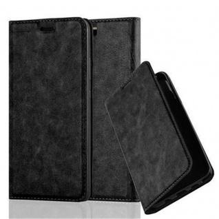 Cadorabo Hülle für Huawei P10 PLUS in NACHT SCHWARZ - Handyhülle mit Magnetverschluss, Standfunktion und Kartenfach - Case Cover Schutzhülle Etui Tasche Book Klapp Style