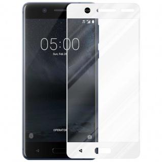 Cadorabo Vollbild Panzer Folie für Nokia 5 2017 - Schutzfolie in TRANSPARENT mit WEISS - Gehärtetes (Tempered) Display-Schutzglas in 9H Härte mit 3D Touch Kompatibilität - Vorschau 2