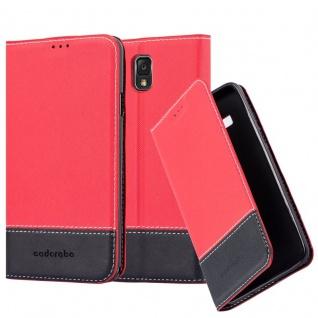Cadorabo Hülle für Samsung Galaxy NOTE 3 in ROT SCHWARZ ? Handyhülle mit Magnetverschluss, Standfunktion und Kartenfach ? Case Cover Schutzhülle Etui Tasche Book Klapp Style