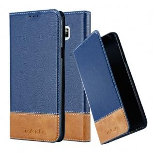 Cadorabo Hülle für Samsung Galaxy NOTE 5 in DUNKEL BLAU BRAUN Handyhülle mit Magnetverschluss, Standfunktion und Kartenfach Case Cover Schutzhülle Etui Tasche Book Klapp Style