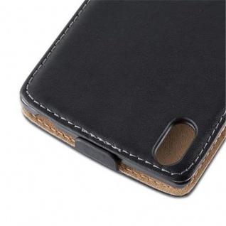 Cadorabo Hülle für Sony Xperia T3 in KAVIAR SCHWARZ - Handyhülle im Flip Design aus glattem Kunstleder - Case Cover Schutzhülle Etui Tasche Book Klapp Style - Vorschau 3