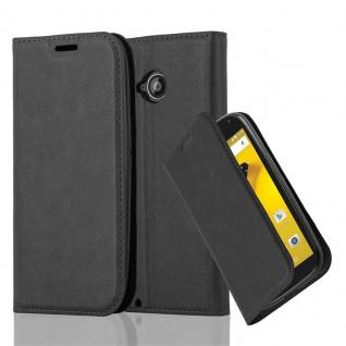 Cadorabo Hülle für Motorola MOTO E2 in NACHT SCHWARZ - Handyhülle mit Magnetverschluss, Standfunktion und Kartenfach - Case Cover Schutzhülle Etui Tasche Book Klapp Style