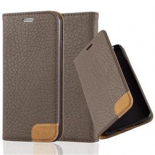 Cadorabo Hülle für Apple iPhone 7 / iPhone 7S / iPhone 8 - Hülle in ERD BRAUN ? Handyhülle mit Standfunktion, Kartenfach und Textil-Patch - Case Cover Schutzhülle Etui Tasche Book Klapp Style