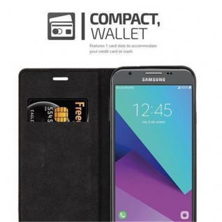 Cadorabo Hülle für Samsung Galaxy J7 2017 US Version in KAFFEE BRAUN - Handyhülle mit Magnetverschluss, Standfunktion und Kartenfach - Case Cover Schutzhülle Etui Tasche Book Klapp Style - Vorschau 3