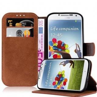 Cadorabo Hülle für Samsung Galaxy S4 - Hülle in MATT BRAUN - Handyhülle mit Standfunktion und Kartenfach im Retro Design - Case Cover Schutzhülle Etui Tasche Book Klapp Style