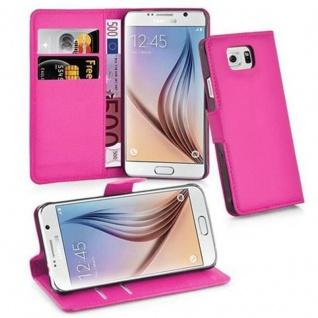 Cadorabo Hülle für Samsung Galaxy S6 in CHERRY PINK Handyhülle mit Magnetverschluss, Standfunktion und Kartenfach Case Cover Schutzhülle Etui Tasche Book Klapp Style