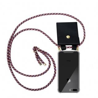 Cadorabo Handy Kette für Apple iPhone 8 PLUS / 7 PLUS / 7S PLUS in ROT GELB WEISS - Silikon Necklace Umhänge Hülle mit Gold Ringen, Kordel Band Schnur und abnehmbarem Etui ? Schutzhülle