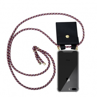 Cadorabo Handy Kette für Apple iPhone 8 PLUS / 7 PLUS / 7S PLUS in ROT GELB WEISS Silikon Necklace Umhänge Hülle mit Gold Ringen, Kordel Band Schnur und abnehmbarem Etui Schutzhülle