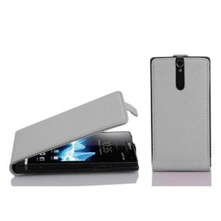 Cadorabo Hülle für Sony Xperia S in MAGNESIUM WEIß - Handyhülle im Flip Design aus strukturiertem Kunstleder - Case Cover Schutzhülle Etui Tasche Book Klapp Style