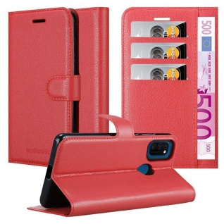 Cadorabo Hülle für Samsung Galaxy M21 in KARMIN ROT Handyhülle mit Magnetverschluss, Standfunktion und Kartenfach Case Cover Schutzhülle Etui Tasche Book Klapp Style