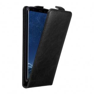 Cadorabo Hülle für Samsung Galaxy S8 in NACHT SCHWARZ - Handyhülle im Flip Design mit unsichtbarem Magnetverschluss - Case Cover Schutzhülle Etui Tasche Book Klapp Style