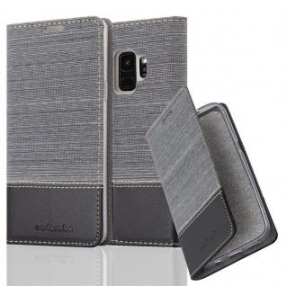 Cadorabo Hülle für Samsung Galaxy S9 in GRAU SCHWARZ - Handyhülle mit Magnetverschluss, Standfunktion und Kartenfach - Case Cover Schutzhülle Etui Tasche Book Klapp Style