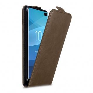 Cadorabo Hülle für Samsung Galaxy S10 PLUS in KAFFEE BRAUN - Handyhülle im Flip Design mit Magnetverschluss - Case Cover Schutzhülle Etui Tasche Book Klapp Style