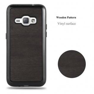 Cadorabo Hülle für Samsung Galaxy J1 2016 in WOODEN SCHWARZ ? Handyhülle aus flexiblem TPU Silikon ? Silikonhülle Schutzhülle Ultra Slim Soft Back Cover Case Bumper - Vorschau 5