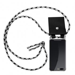 Cadorabo Handy Kette für OnePlus 5 in SCHWARZ CAMOUFLAGE Silikon Necklace Umhänge Hülle mit Silber Ringen, Kordel Band Schnur und abnehmbarem Etui Schutzhülle