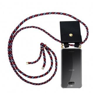 Cadorabo Handy Kette für Sony Xperia 10 PLUS in ROT BLAU WEISS - Silikon Necklace Umhänge Hülle mit Gold Ringen, Kordel Band Schnur und abnehmbarem Etui ? Schutzhülle