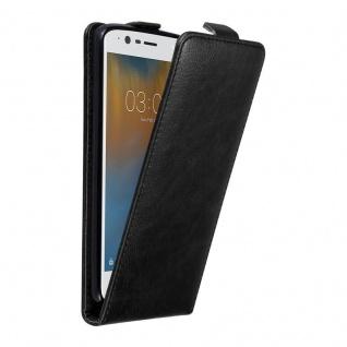 Cadorabo Hülle für Nokia 3 2017 in NACHT SCHWARZ - Handyhülle im Flip Design mit unsichtbarem Magnetverschluss - Case Cover Schutzhülle Etui Tasche Book Klapp Style