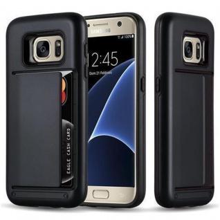 Cadorabo Hülle für Samsung Galaxy S7 - Hülle in ARMOR SCHWARZ ? Handyhülle mit Kartenfach - Hard Case TPU Silikon Schutzhülle für Hybrid Cover im Outdoor Heavy Duty Design